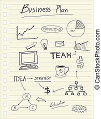 teckning, affärsverksamhet planera, begrepp