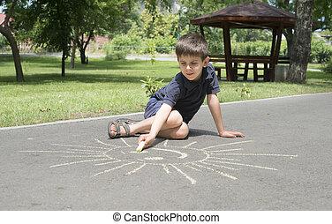 teckning, asfalt, barn