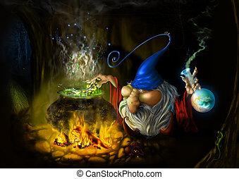 teckning, fe, listig, trollkarl, in, grotta