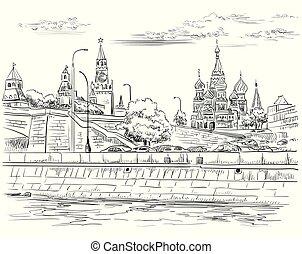 teckning, hand, vektor, moscow-4