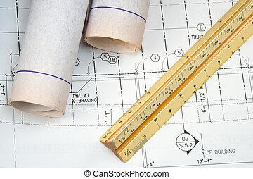 teckning, planer, architect\'s