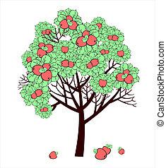 teckning, vektor, träd, äpple, frukter