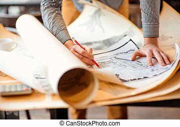 teckningar, arkitektonisk