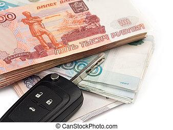 tecla carro, e, russo, dinheiro