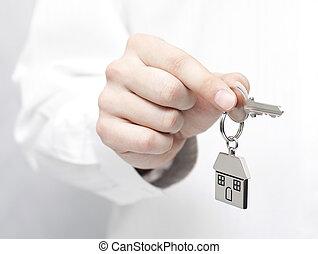 tecla casa, mão