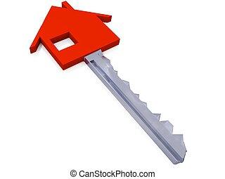 tecla, casa, sobre, fundo, branco vermelho