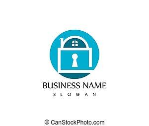 tecla, casa, vetorial, modelo, logotipo, ícone