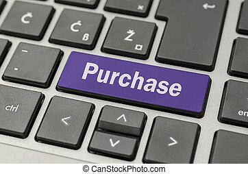 tecla compra, ligado, teclado computador