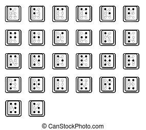 tecla, computador, alfabeto, braille