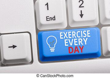 tecla, escrita, foto, saudável, showcasing, nota papel, cópia, branca, adquira, cada, movimento, mostrando, ajustar, day., negócio, space., fundo, energeticamente, exercício, corporal, ordem, teclado