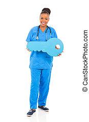 tecla, fêmea africana, segurando, doutor
