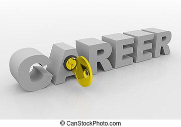 tecla, para, carreira, em, 3d, word., concept., 3d, render, image.