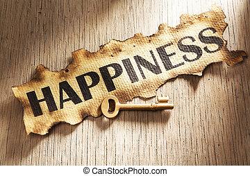 tecla, para, felicidade, conceito