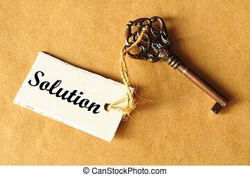 tecla, para, solução