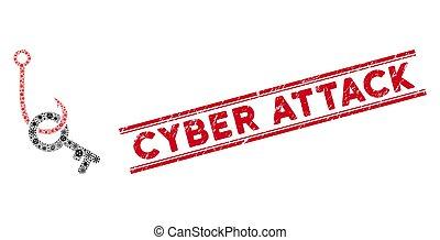 tecla, phishing, cyber, ícone, colagem, ataque, gancho, pathogen, selo, grunge, linhas