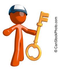 tecla, trabalhador, segurando, laranja, correio,  postal, homem
