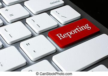 teclado, botão, elaboração do relatório, entrar, branco vermelho