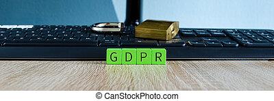teclado, candado, general, protección, (gdpr), computadora, regulación, concepto, roto, datos