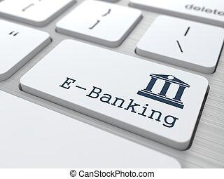 teclado, com, e-negócio bancário, button.