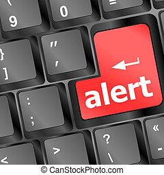 teclado computador, com, atenção, tecla, alerta, -, negócio,...