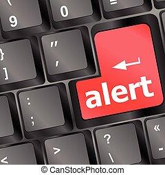 teclado computador, com, atenção, tecla, alerta, -, negócio, fundo, vetorial, ilustração