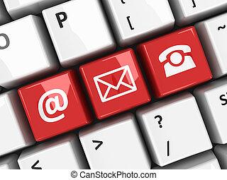 teclado computador, vermelho, contato