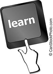 teclado, con, llave, learn., internet, educación, concepto