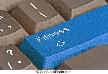 teclado, con, llave, para, condición física