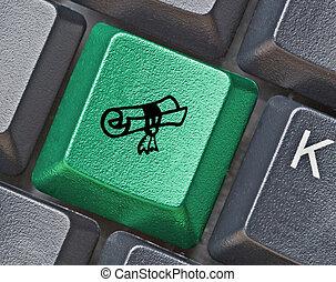 teclado, con, llave, para, educación