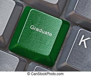 teclado, con, llave, para, graduación
