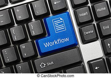 teclado, conceptual, workflow