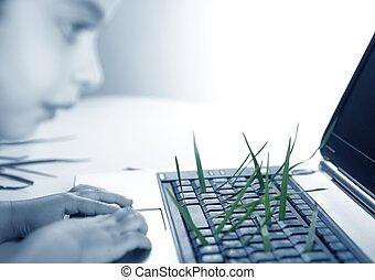 teclado, crecer, niña, computadora, pasto o césped