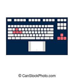 teclado, cuaderno, panel
