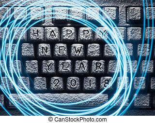 teclado, cubierto, con, nieve, con, inscripción, feliz año...