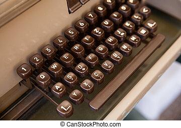 teclado, de, antiguo, telex