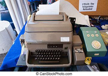 teclado, de, viejo, telex