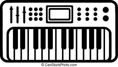 teclado del piano, electrónico, icono