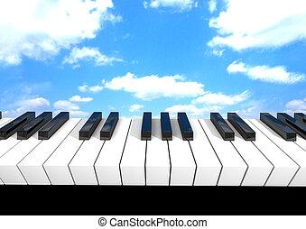 teclado del piano, render, 3d