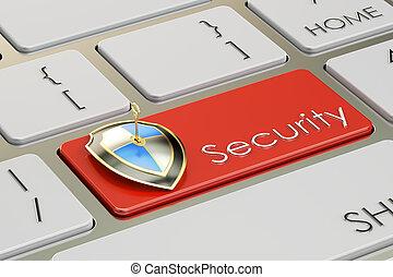 teclado, interpretación, seguridad, 3d, botón