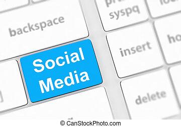 teclado, mídia, conceito, fundo, social