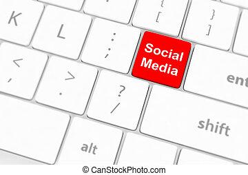 teclado, medios, concepto, plano de fondo, social