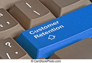 teclado, para, cliente, retención