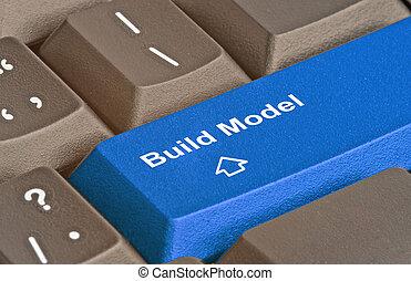 teclado, para, modelo, edificio