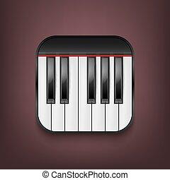 teclado, photorealistic, vetorial, piano, ícone