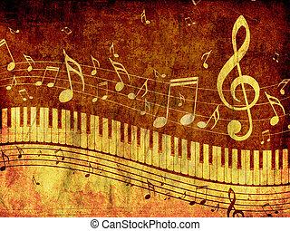 teclado piano, com, notas música, grunge