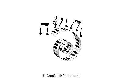 Notas Abstratos Símbolo Vetorial Música Teclado Piano