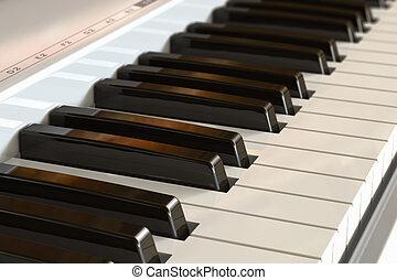 teclado, piano, foco selectivo, efecto