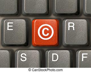 teclado, símbolo, tecla, direitos autorais