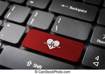 teclado, saúde, fundo, tecla, batida coração, vermelho