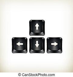 teclado, vector, negro